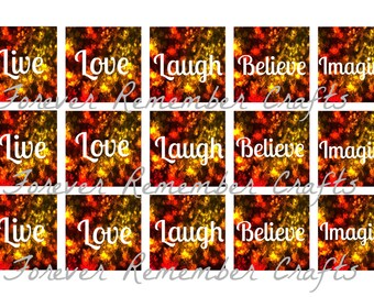 INSTANT DOWNLOAD Fall & Autumn Sayings  1 Inch Square Image Sheet *Digital Image* 4x6 Sheet With 15 Images