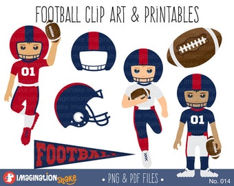 Red and Blue Football Players Clip Art & Printables / Football Team Clipart / Football Decorations / Football Party Printables / No. 014