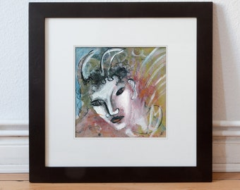 Painting 20 x 20 cm (7.87 x 7.87 inch) painting devil, devil, picture devilish/unique, handmade in mixed media/art