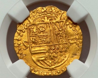 SPAIN 1 ESCUDO 1556 80 GOLD cob doubloon ngc unc dets! likely golden fleece coin