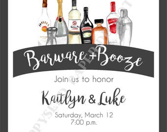 Stock the Bar Party Invitation- Wedding Shower Invitation- Personalized -Digital File or Printed Invitation- Double Sided