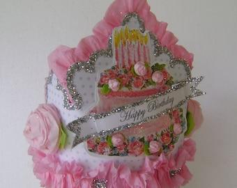 Birthday party hat, birthday party crown, birthday cake hat, customize