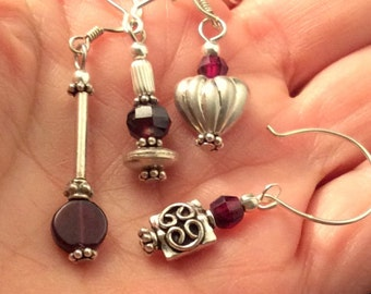 9 different Small Garnet Earrings. Sterling Silver. free US ship