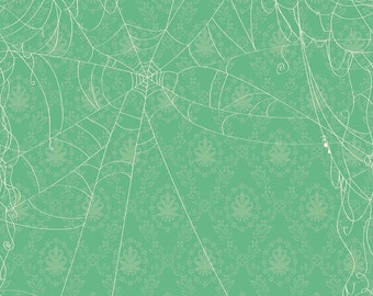 Spiderweb Fabric - Witch Web by October Afternoon for Riley Blake Designs C3932 Green - 5/8 yard remnant