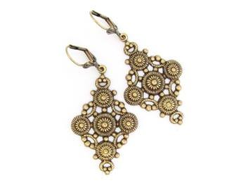 Bohemian Earrings, Boho  Dangle Chandelier, Moroccan Design Brass Earrings, Bridesmaid Gift, Bridal Wedding Jewelry, Antiqued Brass Jewelry