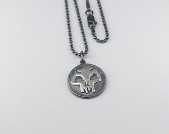 Magic:The Gathering Inspired  Pendant In Sterling Silver - Black Mana