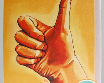 Thumbs Up. A card of happiness and encouragement from the new Gestures Collection.