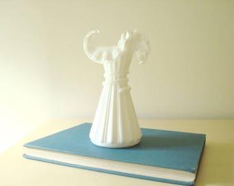 Milk glass vase, Fenton Silver Crest Wheat Vase, ware no. 5858 Fenton Art Glass, Silvercrest vase