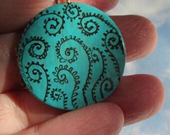 Mini Engraved Moss Fiddlehead fern art locket w/nest art inside necklace version two
