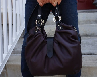 Brown leather satchel, large leather bag with pleats,  cross body bag, backpack purse - Made to order