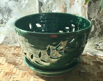 Handmade Orchid Pot in Forest Green