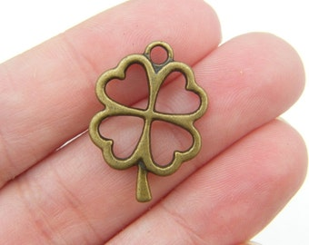 6 Four leaf clover charms antique bronze tone BC109