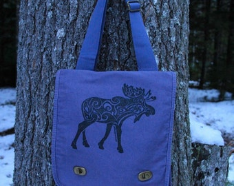 Moose Tribal Tattoo Messenger Field Bag -  Screen Printed Original Design