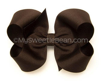 Brown Hair Bow, 4 inch Boutique Bow, Brown Hairbow, Basic Hair Bows for Toddlers, Girls, Babies, Grosgrain Hairbow