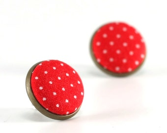 Red Stud Earrings - Red Polka Dots Earring Studs - Red and White Fabric Covered Buttons Earrings Antique Posts Jewelry