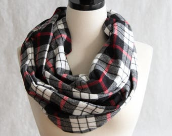 Black, White and Red Plaid Scarf - Black Plaid Flannel Scarf - Fall Scarf - Black Infinity Scarf