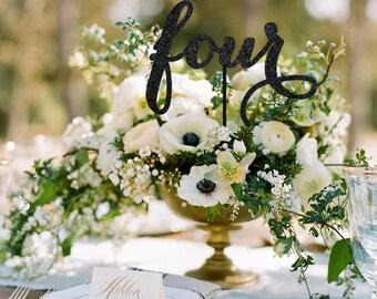 Midnight Black Table Numbers, Wedding Table Number, Wedding Reception Decor, Bling Table Numbers, Script Wording