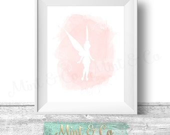 Tinkerbell Watercolor Printable Wall Art, 2 INSTANT Download Printable Gold Blush Coral Pink Tinker bell Wall Decor Digital Print