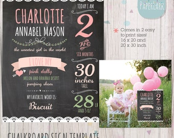 Chalk Board Printable Sign Prop - Photography Template for Baby Statistics - Photoshop template - WG001 - INSTANT DOWNLOAD
