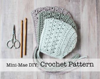 Crochet Pattern, Bonnet Pattern, Crochet Bonnet Pattern, Baby Bonnet Pattern, Crochet Baby Bonnet Pattern, Crochet Baby Hat Pattern