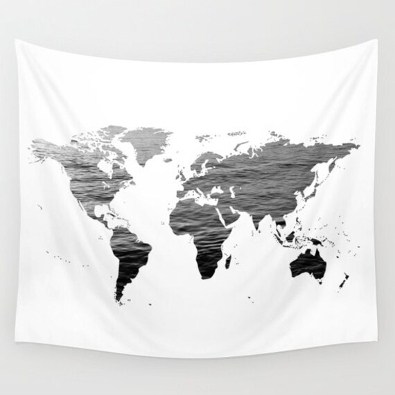 Sea texture world map wall tapestry map large size wall art sea texture world map wall tapestry map large size wall art modern decor outdoor garden beach hut decor black white tapestry office gumiabroncs Image collections