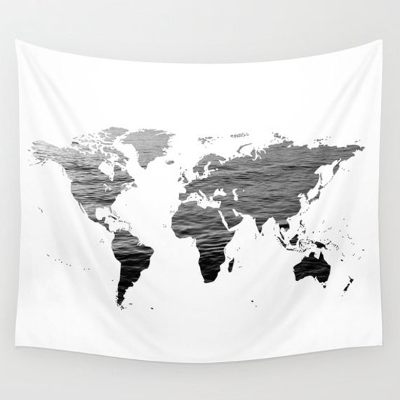 Sea texture world map wall tapestry map large size wall art like this item gumiabroncs Images