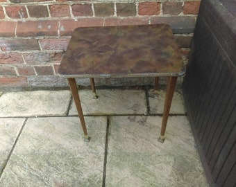 Vintage retro mid century brown marble effect coffee side table with tapered legs