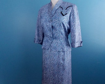 1960's Blue Print Dress & Jacket Set A Mendel Creation