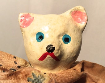 Vintage 1950s Paper Mache Cat, Hand Painted Face, Hand Puppet, So sweet