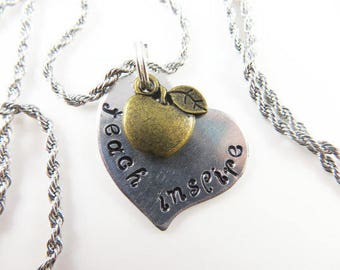 Mini hand stamped teacher necklace