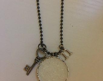 white glitter necklace