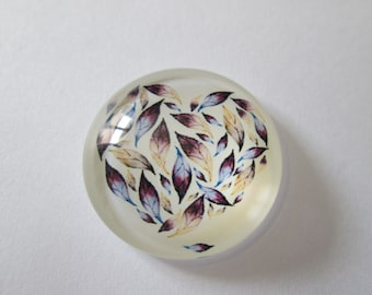 printed round cabochon 25 mm reason feathers