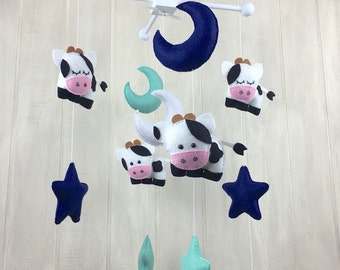 Cow mobile - moon and star mobile - baby mobile - baby crib mobile - cow baby mobile