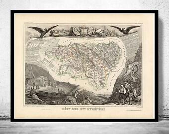Old Map of Pyrenees Pirineus 1845
