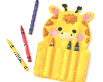 Giraffe Crayon Holder, Crayon Roll, Crayon Organizer, Crayon Keeper, Travel Toys, Felt Toy, Stocking Stuffer, Easter Basket, Party Favor