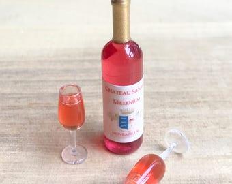 Miniature 1 Red Wine Bottle& 2 Glass,Miniature Acrylic Wine Glass,Miniature Wine,Dollhouse Wine Bottle,Mini Wine glass set