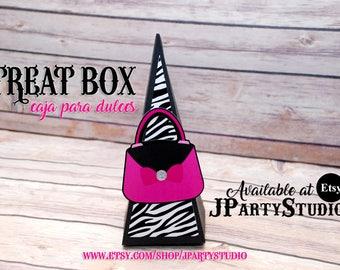 Zebra treat box, zebra favor box, set of 12