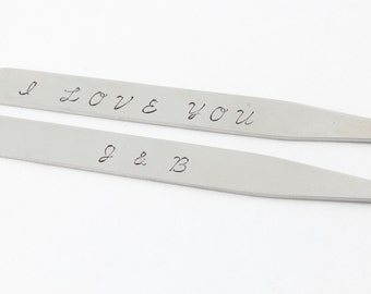 Personalized Collar Stays - Men's Collar Stays - Custom Collar Stays - Stainless Steel Collar Stays - Gift For Dad - Shirt Stays - Silver