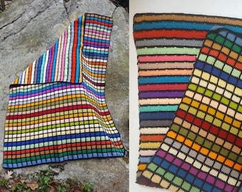 vintage Reversible Colorful Striped Handmade Crochet Knit Afghan Blanket / Bed Throw