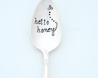 Hello Honey Stamped Spoon, with Bee in Flight. The Original Hand Stamped Vintage Coffee Spoons ™ by Sycamore Hill. Gift for Tea or Bee Lover