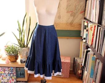 "dark denim western swing skirt with ruffled hem . womens medium large vintage denim square dance skirt . 28"" waist"