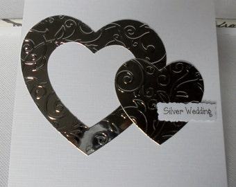 Silver wedding anniversary card. 25 years married. Happy anniversary. Silver anniversary card.