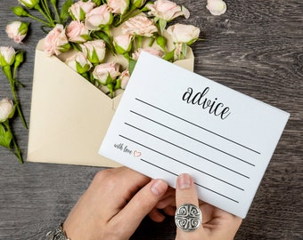 Advice Cards, Wedding Advice Cards, Marriage Advice, Advice Printable, Wedding Advice Template, Instant Download