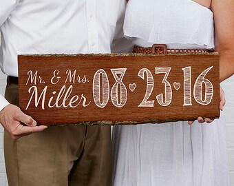 Our Wedding Date Personalized Plank Sign