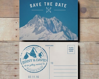 Mountain Save the Date Wedding Invitations, retro postcard save the date, snow save the date, mountain wedding postcard, skiing invitations