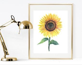 Sunflower print, printable watercolor flower, yellow watercolor painting print, watercolor botanical print, watercolor sunflower wall art