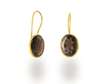 Smokey Quartz Faceted Oval Silver Earrings coated in Gold, Brown earrings, smokyquartz earrings, gemstone earrings, precious stone earrings