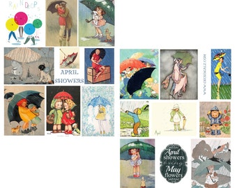 Raindrops Digital Collage Sheet