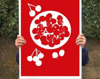 "Bowl of cherries - Poster print  20""x27"" - archival fine art giclée print"