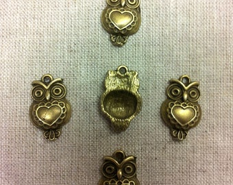Set of 5 charms bronze metal T24 - owls